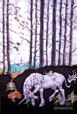 Unicorn Rests In The Forest With Fox And Bird Art Print by Carol Law Conklin