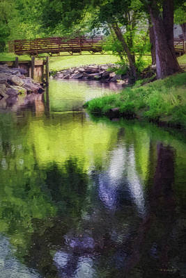 Digital Art - Unicorn Stream Bridge - Paint Fx by Brian Wallace