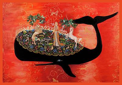 Unicorn Tapestry - Birdbath Print by Theresa LaBrecque
