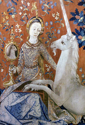 Tapestries Textiles Photograph - Unicorn Tapestry, 15th C by Granger