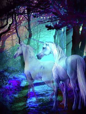 Mixed Media - Unicorn Twilight by Michael Pittas