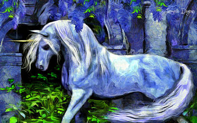 Horse Head Digital Art - Unicorn  - Van Gogh Style -  - Da by Leonardo Digenio
