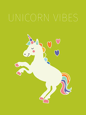 Unicorn Drawing - Unicorn Vibes by Nicole Wilson