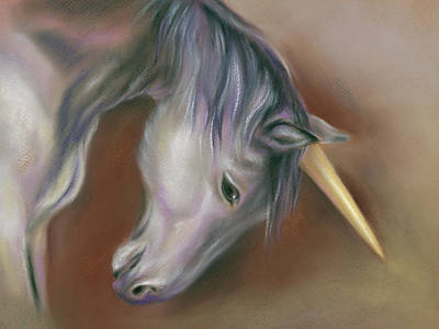 Pastel - Unicorn With A Golden Horn by MM Anderson