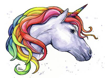 Horned Painting - Unicorn With Rainbow Mane by Olga Shvartsur