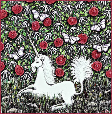 Digital Art - Unicorn With Red Roses And Butterflies by Lise Winne