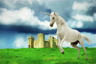 Digital Art - Unicorns And Castles by John Haldane