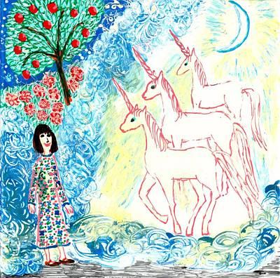 Unicorns Come Home Print by Sushila Burgess