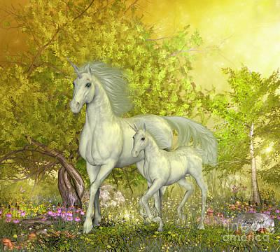 Mushroom Digital Art - Unicorns In Glen by Corey Ford