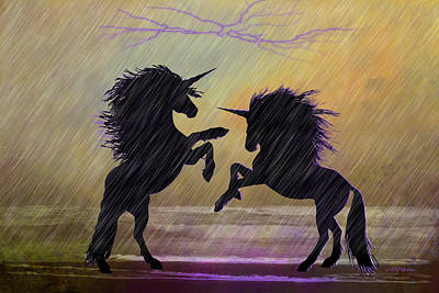 Digital Art - Unicorns In Purple Rain - Digital Art by Ericamaxine Price