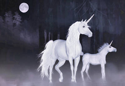 Unicorns In The Mist Art Print
