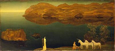 Arthur Bowen Davies Painting - Unicorns. Legend-sea Calm by Arthur Bowen Davies