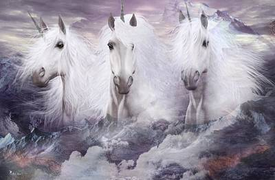 Unicorns Of The Mountains Art Print