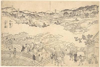 Oda Digital Art - Unidentified Artist   River Of Omue And Bridge Of Oda by Anne Pool