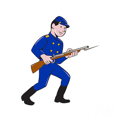Volunteer Infantry Digital Art - Union Army Soldier Bayonet Rifle Cartoon by Aloysius Patrimonio