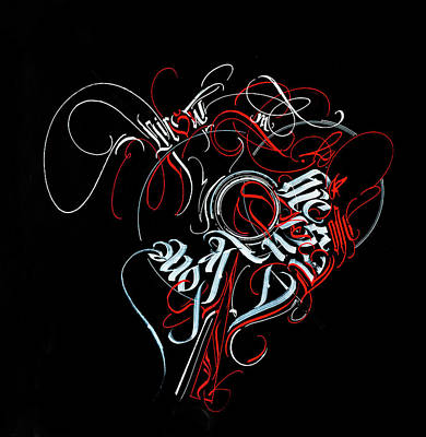 Mixed Media - Union. Calligraphic Abstract by Dmitry Mandzyuk