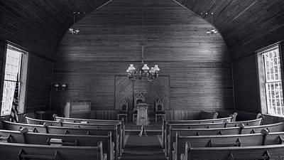 Union Christian Church Sanctuary - Bw Art Print by Stephen Stookey