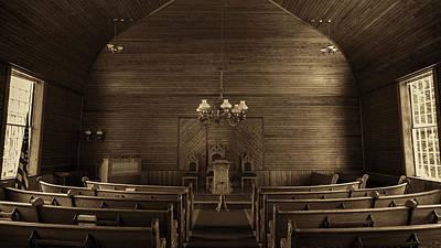 Union Christian Church Sanctuary - Sepia Art Print by Stephen Stookey