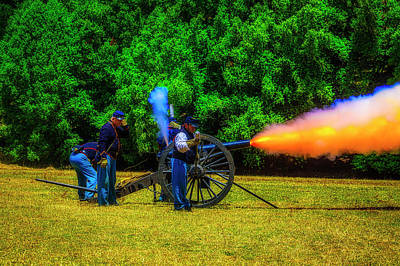Photograph - Union Civil War Cannon Firing by Garry Gay
