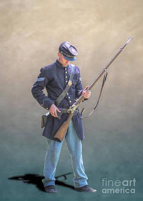 Battle Of Gettysburg Digital Art - Union Civil War Soldier Reloading by Randy Steele