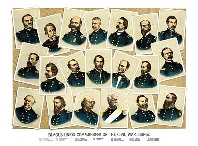 Landmarks Painting Royalty Free Images - Union Commanders of The Civil War Royalty-Free Image by War Is Hell Store