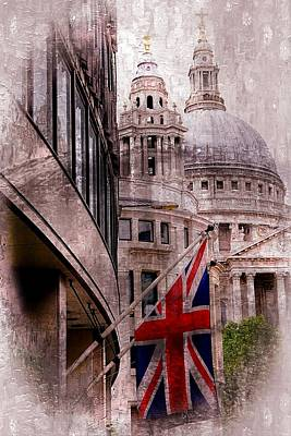 Union Jack By St. Paul's Cathdedral Art Print