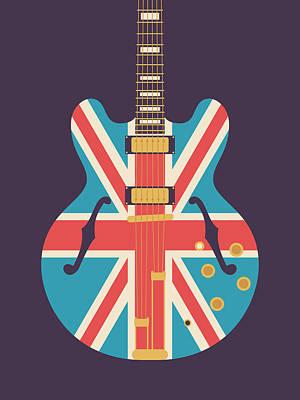 Union Jack Guitar - Alt Black Art Print