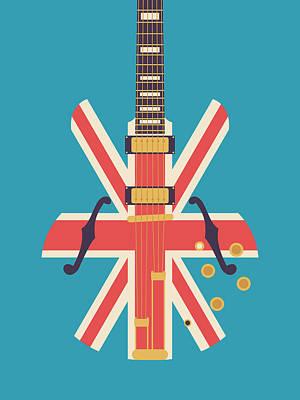 Union Jack Guitar - Alt Blue Art Print