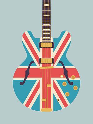 Union Jack Guitar - Alt Grey Art Print