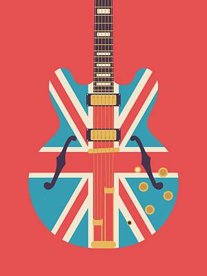 Union Jack Guitar - Alt Red Art Print