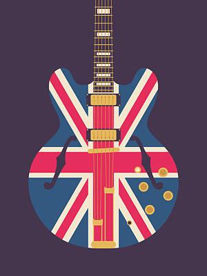 Liam Digital Art - Union Jack Guitar - Original Black by Ivan Krpan