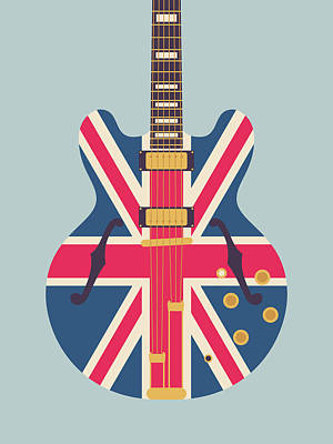 Liam Digital Art - Union Jack Guitar - Original Grey by Ivan Krpan