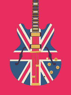Liam Digital Art - Union Jack Guitar - Original Red by Ivan Krpan