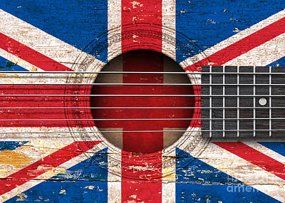 Union Jack On An Old Vintage Acoustic Guitar Art Print