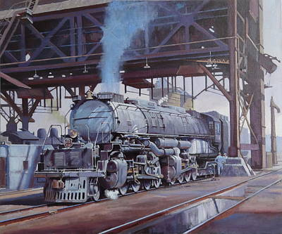 Large Painting - Union Pacific Big Boy by Mike  Jeffries