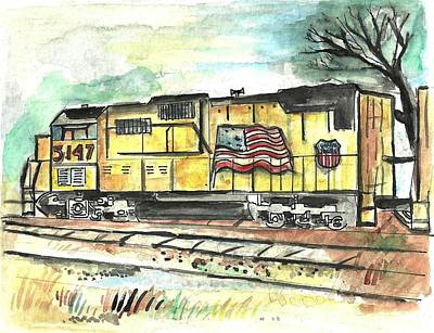 Painting - Union Pacific Engine by Matt Gaudian