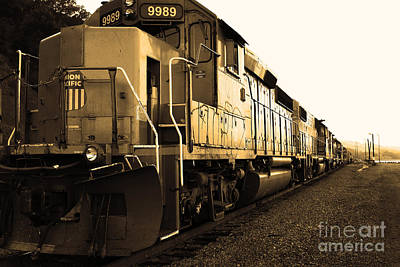 Union Pacific Locomotive Trains . 7d10588 . Sepia Print by Wingsdomain Art and Photography