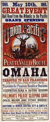 Painting - Union Pacific Rail Road - Platte Valley Route Inauguration - Vintage Advertising Poster by Studio Grafiikka