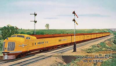 Digital Art - Union Pacific Streamliner City Of Denver by Walter Colvin