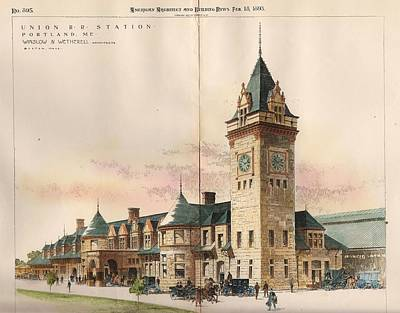 Watercolor Trains Painting - Union Railroad Station. Portland Me. 1893 by Winslow and Wetherell