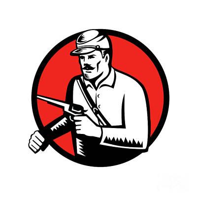 Union Soldier With Pistol Circle Woodcut Art Print by Aloysius Patrimonio