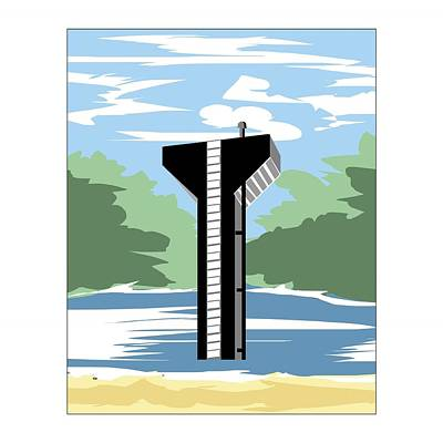 Emu Digital Art - Union Springs Tower, Version 1 by Matt Jarrels