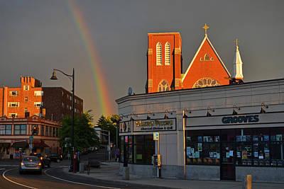 Union Square Somerville Rainbow Art Print