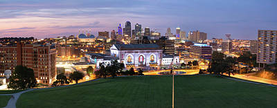 Photograph - Union Station And Downtown Kansas City Evening Skyline Panoramic by Gregory Ballos