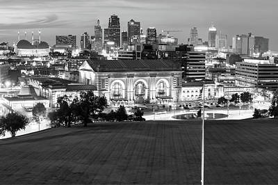 Photograph - Union Station And The Kansas City Skyline Black And White by Gregory Ballos