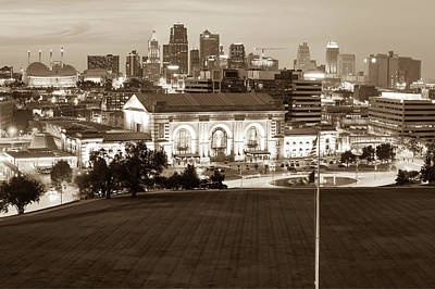 Photograph - Union Station And The Kansas City Skyline - Sepia by Gregory Ballos