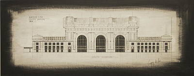 Kansas City Drawing - Union Station - Blueprint by Gregory Lee