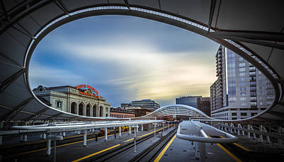 Union Photograph - Union Station Denver - Slow Sunset by Jan Abadschieff