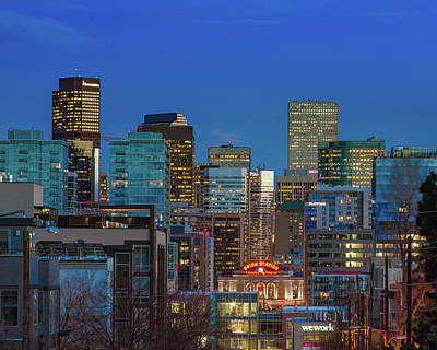 Denver Skyline Photograph - Union Station During Blue Hour - Denver, Colorado by Bridget Calip
