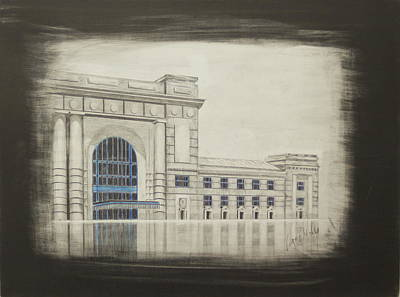 Kansas City Drawing - Union Station - East Wing by Gregory Lee